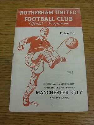 31/08/1963 Rotherham United v Manchester City  (Creased, Folded, Worn). We try a