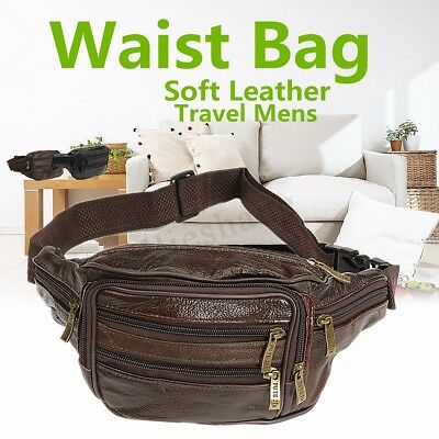 Mens Leather Bum Bag Waist Belt Pouch Travel Holiday Money Wallet Fanny Pack !