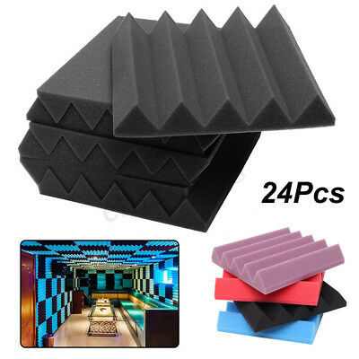 96X 25x25x5cm Acoustic Foam Home Sound Stop Absorption Treatment Proofing Square