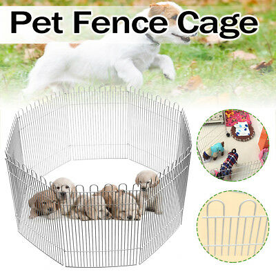 8 Panel Foldable Pet Fence Cage Run Playpen for Small Pets Puppy Rabbit Hamster