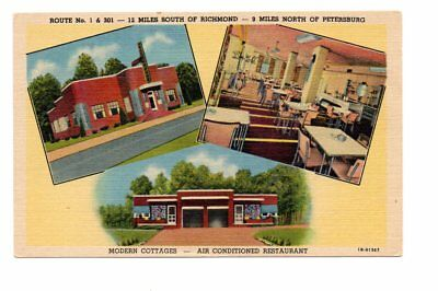 Moore's Brick Cottages and Restaurant, US 1, near Petersburg, VA Linen Postcard