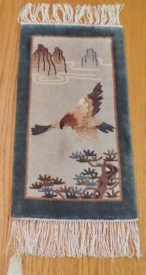 Antique Art Deco Chinese Pictorial Soaring Eagle Hand Knotted Wool Rug Org/Label
