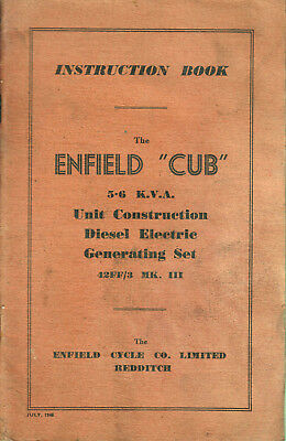 1945 ENFIELD CUB 5.6 KVA Unit Construction Diesel Electric Generating Set MANUAL