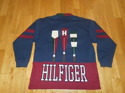 c0a0e7922 NWOT Vintage TOMMY HILFIGER Rowing Rugby Style Long Sleeve Shirt Mens XXL