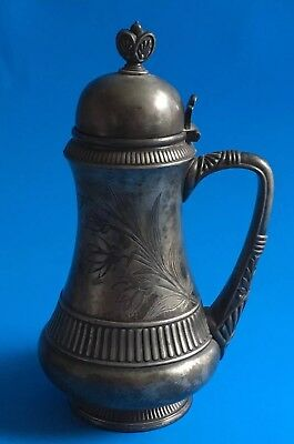 ANTIQUE Simpson Hall Miller & Co Silverplate SYRUP PITCHER Aesthetic VICTORIAN