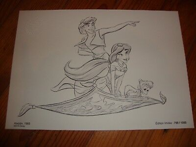 Reproduction Lithographie Collector Disney Aladdin tirage limité 1000ex