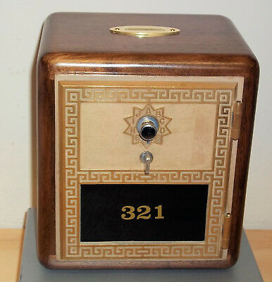 Walnut Post Office Box Door Bank-Size 2 Grecian