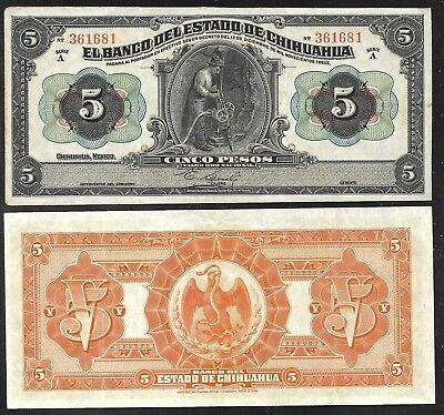 Mexico - Chihuahua - Old 5 Pesos Note - D1913 - S132a - VF to XF