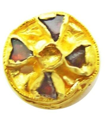 Rare 6th - 7th century A.D. Anglo-Saxon Period Gold & Garnet Ring Bezel Stud