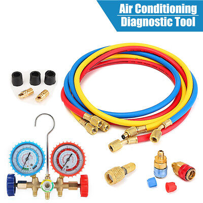 5Ft AC Manifold Freon Gauge Set for R134A R12 R22 R502 Air Conditioner Pump Kits