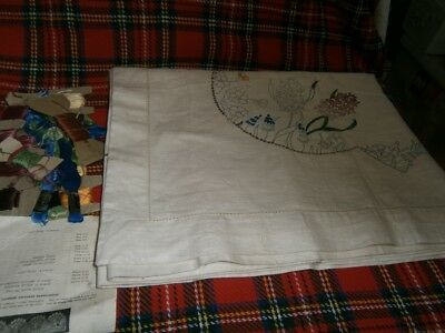 Vintage Partly Completed Linen Tablecloth To Complete + Cottons, Instructions