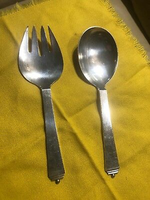 Vintage Georg Jensen Pyramid Is Sterling Silver Large Serving Fork And Spoon