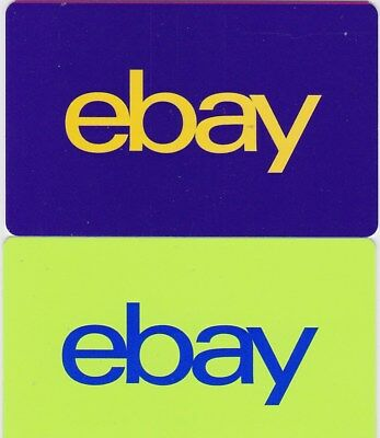 Lot of 2 Ebay Yellow on Blue and Blue on Green Yellow 2017 Gift Cards