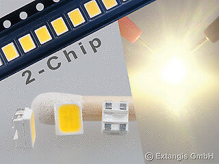 100x SMD LED PLCC4 3528 DOPPELCHIP SUNNY WHITE WEISS warm white vry bright 2chip