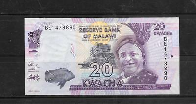 Malawi #57 2016 Uncirculated New 20 Kwacha Currency Banknote Note Paper Money