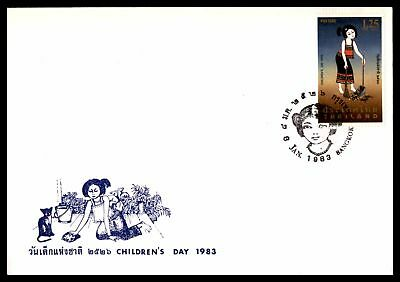 Thailand Childrens Day 1983 Pictorial Cancel On Unsealed Fdc Sc 1022 With Insert