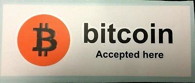 Bitcoin Accepted Here sticker / Decal White Black and Orange