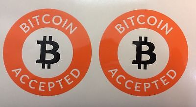 2 x Bitcoin Accepted stickers Decal Orange Black
