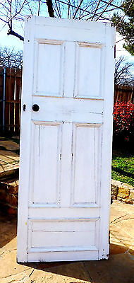 "89"" x 34"" Antique 5 Panel Vtg Interior Inside Tall Door Solid Wood Old Hardware"