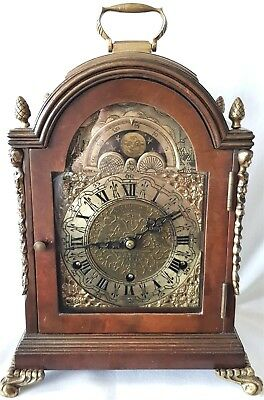 Mantel Clock Westminster Antique Rare Pendulum British Moonphase 47cm High