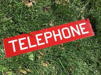 """Vintage Original 25"""" Reverse Painted Sandwich Glass Telephone Booth Sign"""