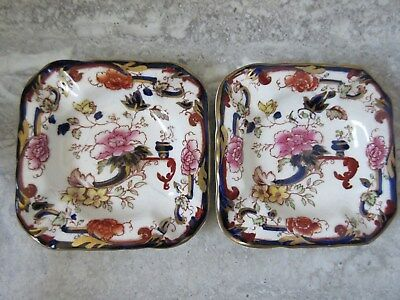 2 Antique Mason's Ironstone Mandalay Ashtrays England