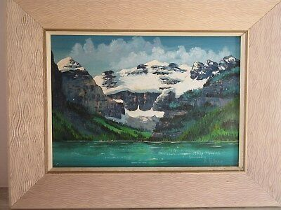 Vintage Canadian Oil on Board Painting Lake Louise Alberta Signed Jo Reimer