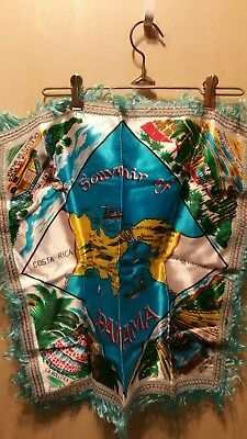 Vintage Panama Souvenir Hand Printed Satin Scarf - Turquoise Gold Red