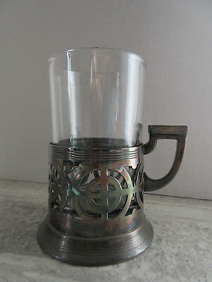 Antique Toronto Silver Plate Glass Tumber Holder