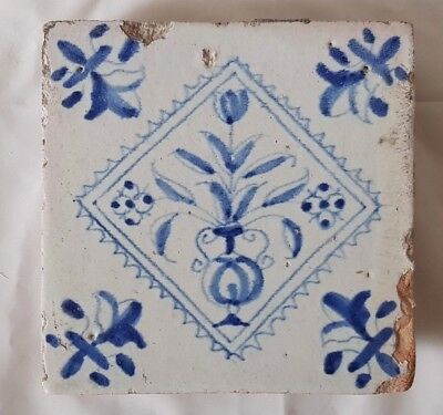 Rare Antique Delft Tile, Mounted On Wood, Charming Gothic Tulip