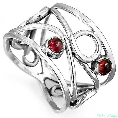 925 Sterling Silver Filigree Ring Natural Garnet Gemstone Women Jewelry Size 6.5