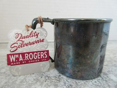 Old Vintage W.A.Rogers Silver Plate Child's ABC Cup with Elephants & Tag