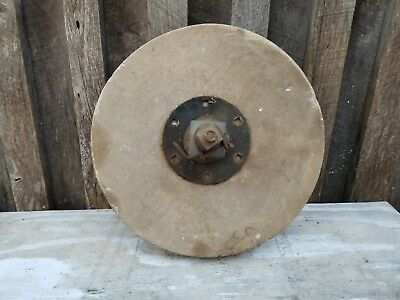 "Antique Stone Grinding Wheel 17"" Diameter with axle"