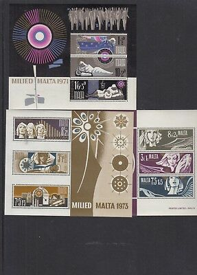 Malta 1971 1972 1973 Christmas stamps MS FDC MS unmounted mint