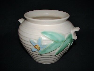 Vintage 1930 – 40's WELLER Pottery Flower Leaf Design Ribbed Jardiniere Planter