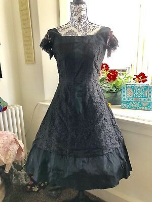 Vintage 40s 50s Rayon Lace LBD Black Party Dress S M 36 30 Full Circle Skirt