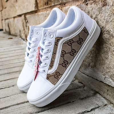 ffa76ec120 Vans White Old Skool x GG Pattern Custom Handmade Shoes By Patch Collection