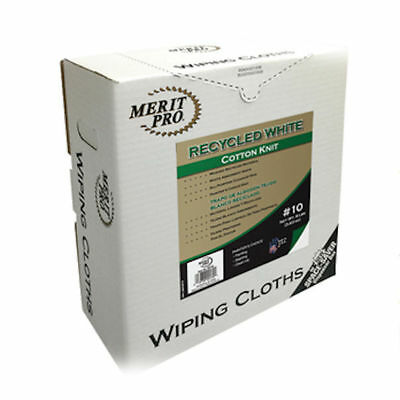 Merit Pro 99139 #10 ,8 lb Box of Recycled White Cotton Knit Wiping Cloth