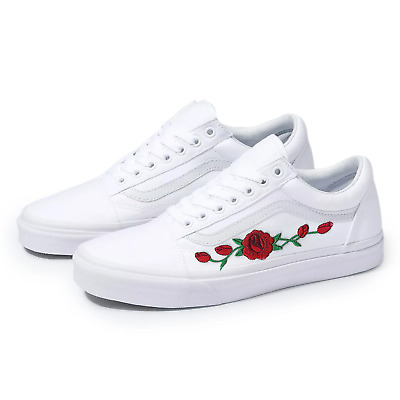 2a0bea294 Vans White Old Skool Red Rose Custom Handmade Shoes By Patch Collection
