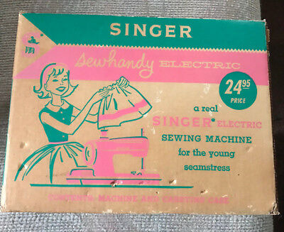 Vintage Child's Singer Sewhandy Electric Sewing Machine Model 50 With Box