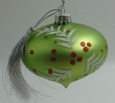 Dept 56 Glass Christmas Ornament Teardrop Green Red SIlver NWT 2007