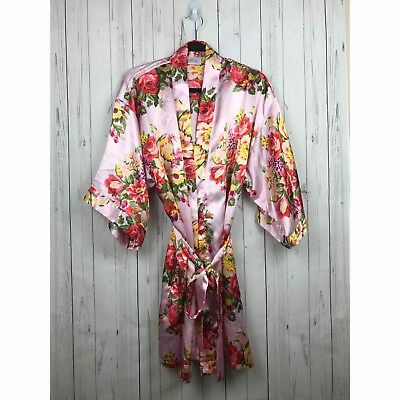 e0ec23cdfc MS LOVELY WOMEN S Floral Satin Kimono Short Bridesmaid Robe Pockets ...