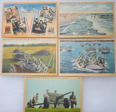 WWII US Marine Corps Camp Lejeune Base 5 Post Card Lot USMC New River, NC