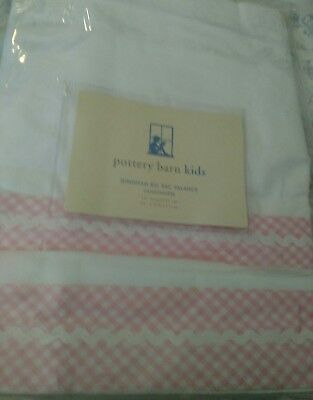 New Pottery Barn Kids PINK Gingham RicRac VALANCE ric rac baby girl