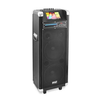 Pyle Karaoke Vibe Bluetooth Multimedia PA System with 10'' Woofer, 7'' Screen, D