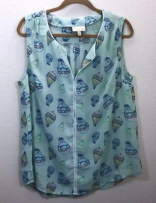 Modcloth Women's Sz XL Sleeveless Top Hot Air Balloon Novelty Print Blue Blouse
