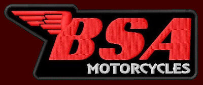 """BSA EMBROIDERED PATCH ~4-1/4""""x 1-3/4"""" BRITISH MOTORCYCLE A7 A10 CAFE RACER A75"""