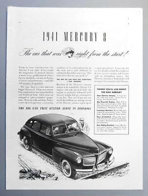 8x12 Orig 1941 Mercury 8 Ad THE CAR THAT WAS RIGHT FROM THE START