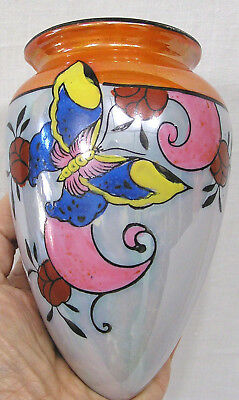 Vintage Wall Pocket 1940s Trico Japan Butterfly on Luster Ware