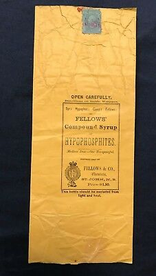 C 1876 Fellows Compound Syrup Bottle Wrapper w/ US Revenue Stamp RB17 Quack Med